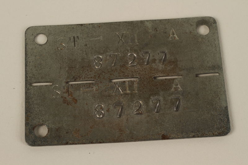 2007.475.2 front Prisoner of war identification tag issued to a Jewish American soldier in Stalag IIIC