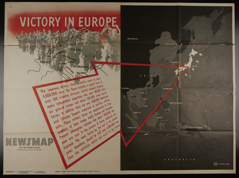 2008.61.1 front US Army poster for public display of war news for May 1-8, 1945