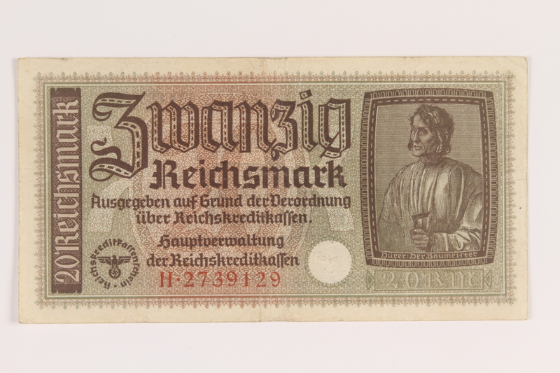 2007.477.8 front 20 Reichsmark banknote found during postwar reconstruction
