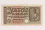 20 Reichsmark banknote found during postwar reconstruction