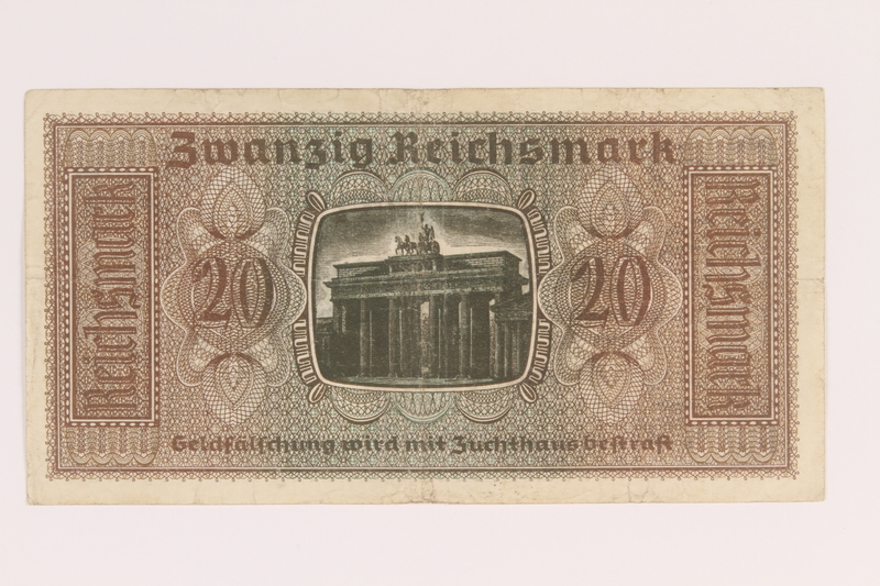 2007.477.8 back 20 Reichsmark banknote found during postwar reconstruction