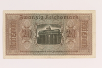 2007.477.8 back 20 Reichsmark banknote found during postwar reconstruction  Click to enlarge