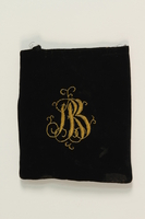 2007.471.2 front Black velvet embroidered tefillin bag buried for safekeeping while owner in hiding  Click to enlarge