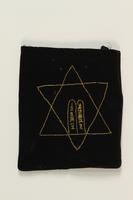 2007.471.2 back Black velvet embroidered tefillin bag buried for safekeeping while owner in hiding  Click to enlarge
