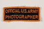 Official US Army photographer rectangular arm patch