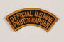 Official US Army photographer arched arm patch