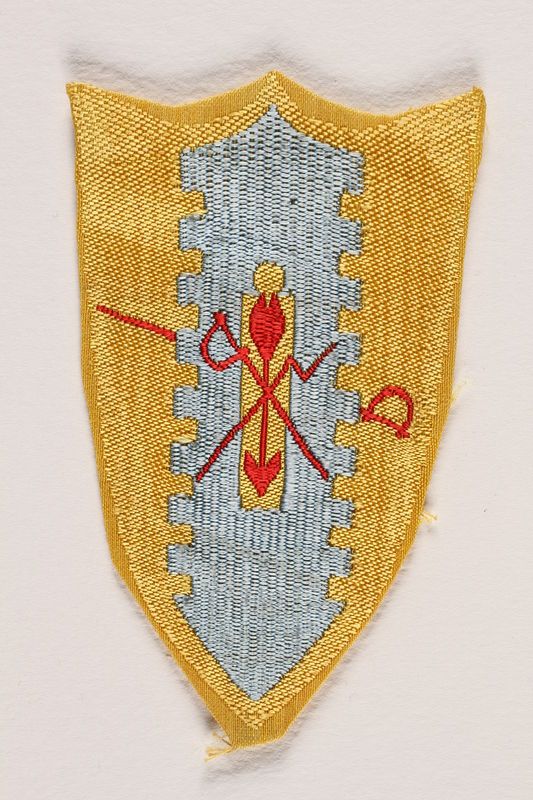 2004.748.3 front US Army 4th Cavalry Group blue and yellow coat of arms shoulder patch