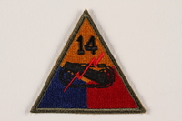 2004.749 front US Army 14th Armored Division shoulder sleeve patch with tank and red lightning bolt  Click to enlarge