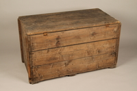 1990.296.1 3/4 view back Large wooden crate used by Zegota, a Polish underground group, to hide false documents  Click to enlarge