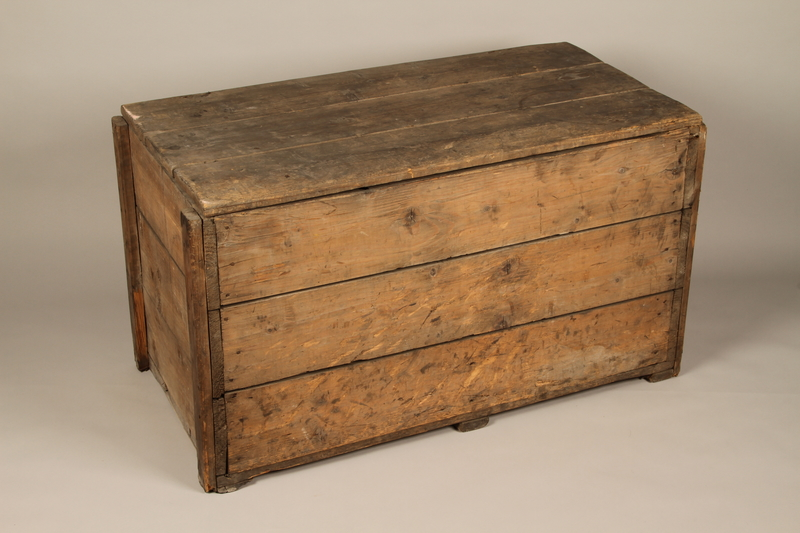 1990.296.1 3/4 view front top Large wooden crate used by Zegota, a Polish underground group, to hide false documents