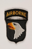 2004.749.11 front US Army 101st Airborne Division shoulder sleeve patch with a bald eagle head  Click to enlarge