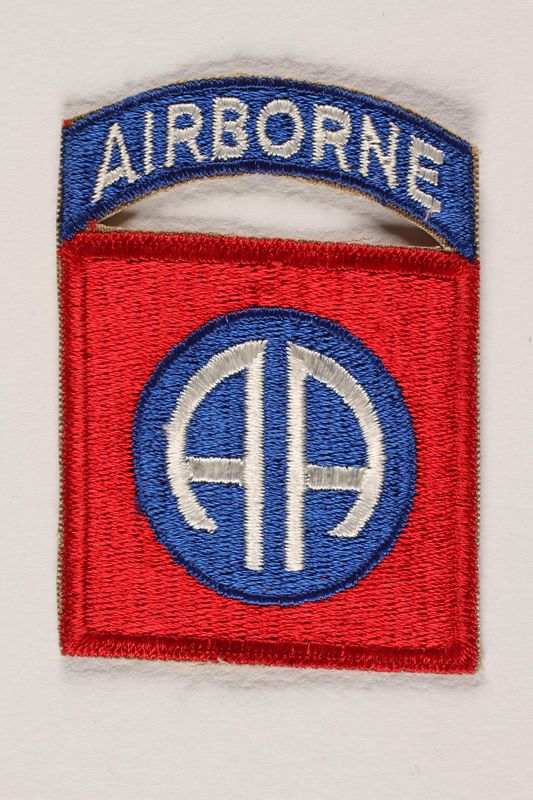 2004.749.12 front US Army 82nd Airborne Division shoulder sleeve patch with two stylized letter A's