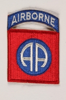 2004.749.12 front US Army 82nd Airborne Division shoulder sleeve patch with two stylized letter A's  Click to enlarge