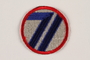 US Army 71st Infantry Division shoulder sleeve patch with a blue 71 on a red rimmed white circle
