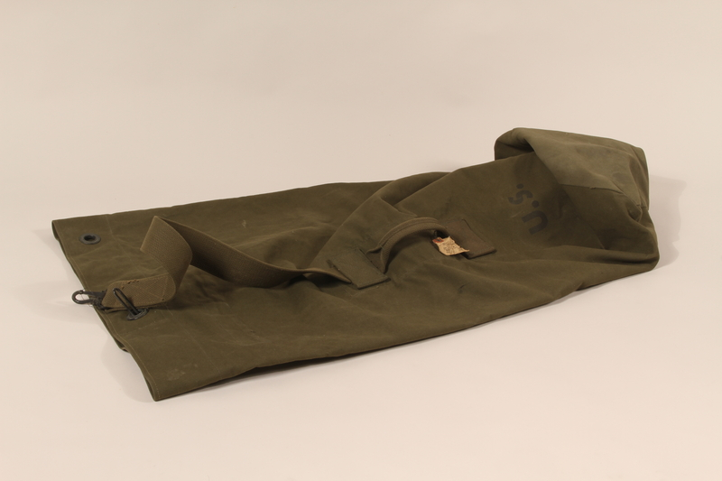 1990.297.1 front Duffel bag used by a US Army soldier during the war in Europe