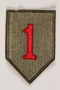 US Army 1st Infantry Division shoulder sleeve patch with a big red numeral one on a green field