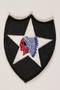US Army 2nd Infantry Division shoulder sleeve patch with a Native American caricature on white star