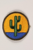 2004.749.25 front US Army 103rd Infantry Division shoulder sleeve patch with a green cactus on a yellow and blue field  Click to enlarge