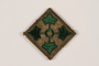 US Army 4th Infantry Division shoulder sleeve patch with 4 green ivy leaves on a brown field