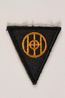 2004.749.32 front US Army 83rd Infantry Division shoulder sleeve patch with a yellow monogram of Ohio  Click to enlarge
