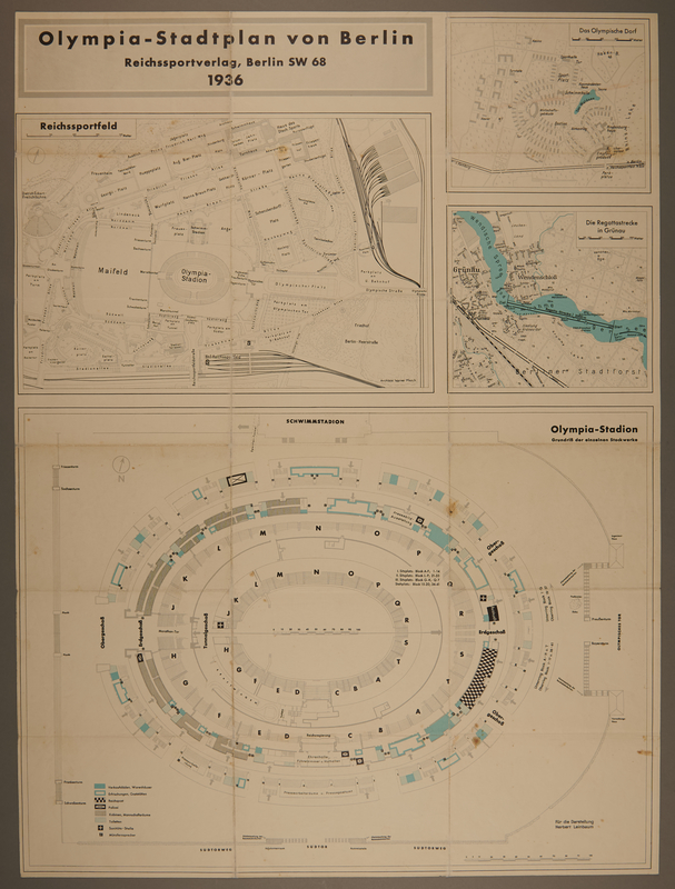 2008.41.1 front Poster with maps of Berlin and the 1936 Berlin Olympics stadiums