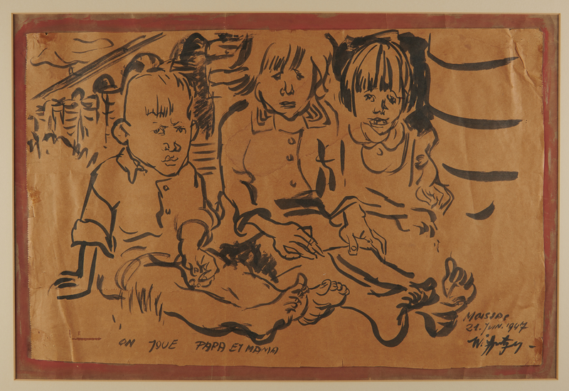2008.350.1 front Walter Spitzer allegorical drawing of three children seated in a concentration camp