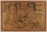 2008.350.1 front Walter Spitzer allegorical drawing of three children seated in a concentration camp  Click to enlarge