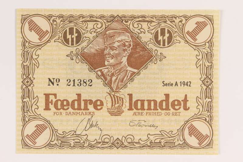 2008.83.2 front Danish occupation currency, 1 krone