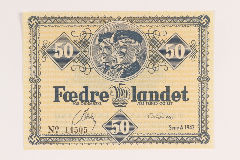 2008.83.5 front Danish occupation currency, 50 kroner