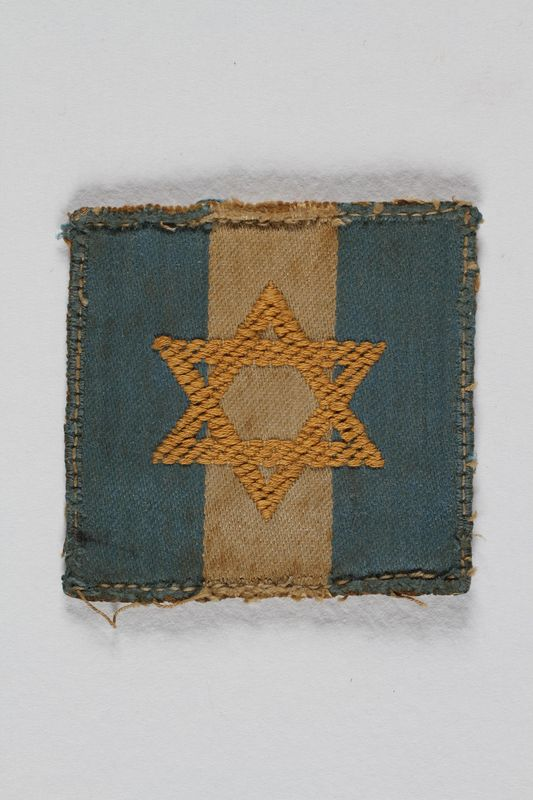 2007.492.5 front Jewish Brigade Group arm patch with blue and white stripes and a Star of David worn by a Brigade soldier