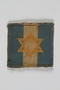 Jewish Brigade Group arm patch with blue and white stripes and a Star of David worn by a Brigade soldier