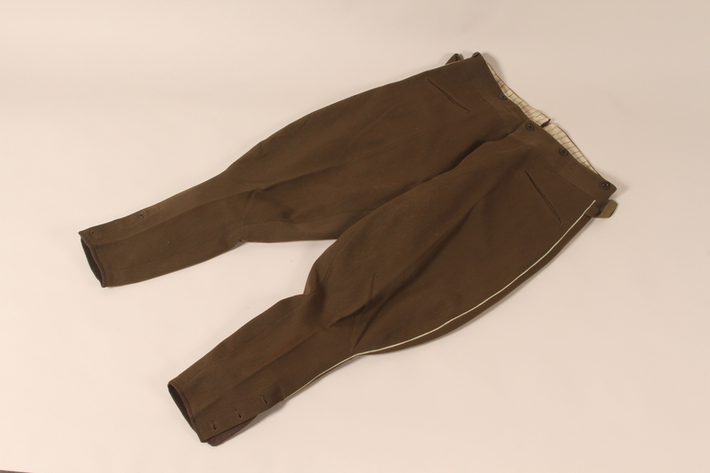 2007.494.2 b front Bulgarian WWI officer's uniform hat, jacket, and pants worn during service in a forced labor brigade