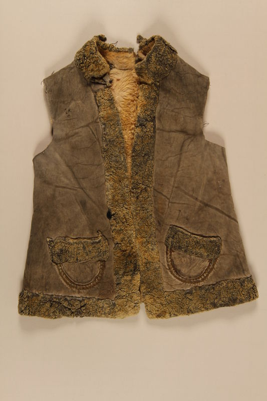 2008.105.2 front Sheepskin vest worn by a Jewish girl living in hiding