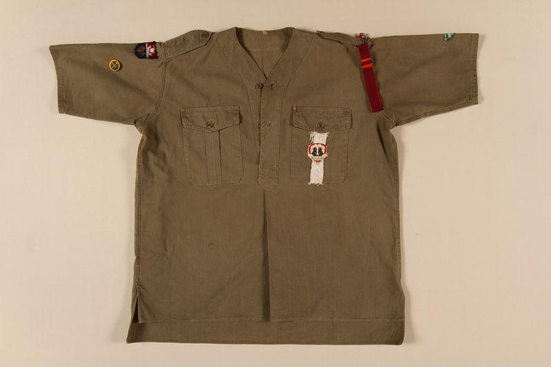 2008.142.2_a front Eclaireurs Israélites de France shirt and kerchief worn by former hidden Jewish boy