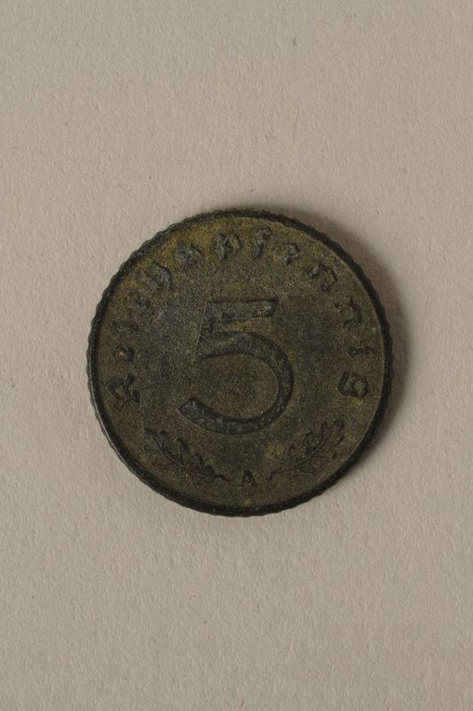 2008.201.3 back Nazi Germany, 5 reichspfennig coin