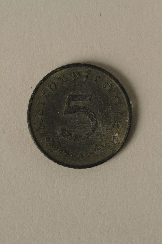 2008.201.4 back Nazi Germany, 5 reichspfennig coin