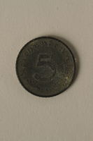 2008.201.4 back Nazi Germany, 5 reichspfennig coin  Click to enlarge