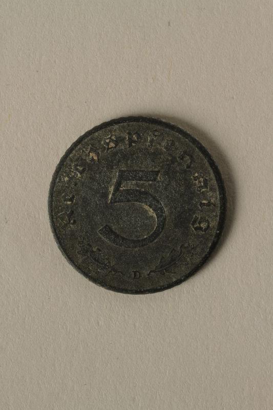 2008.201.6 back Nazi Germany, 5 reichspfennig coin