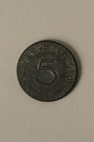 2008.201.6 back Nazi Germany, 5 reichspfennig coin  Click to enlarge