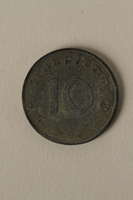 2008.201.8 back Nazi Germany, 10 reichspfennig coin  Click to enlarge