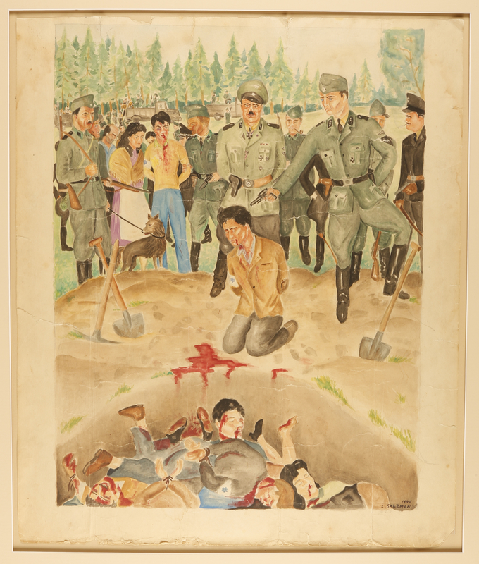 1988.14.3 front Watercolor created in a DP camp of an execution at a mass grave