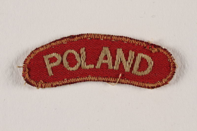 2009.23.2 front Poland uniform patch worn by a Jewish medical officer, 2nd Polish Corps