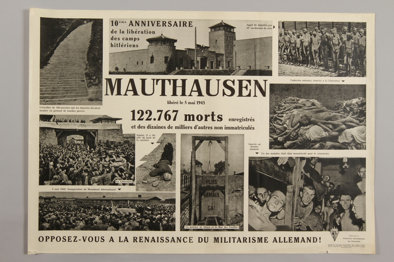 1990.305.4 front Poster for the 10th Anniversary of the Liberation of Mauthausen.