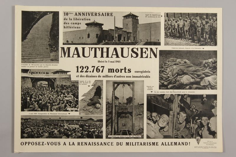 1990.305.5 front 10th Anniversary poster for the Liberation of Mauthausen