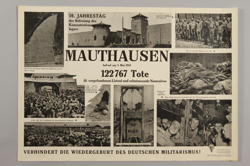 1990.305.6 front Poster for the 10th Anniversary of the Liberation of Mauthausen