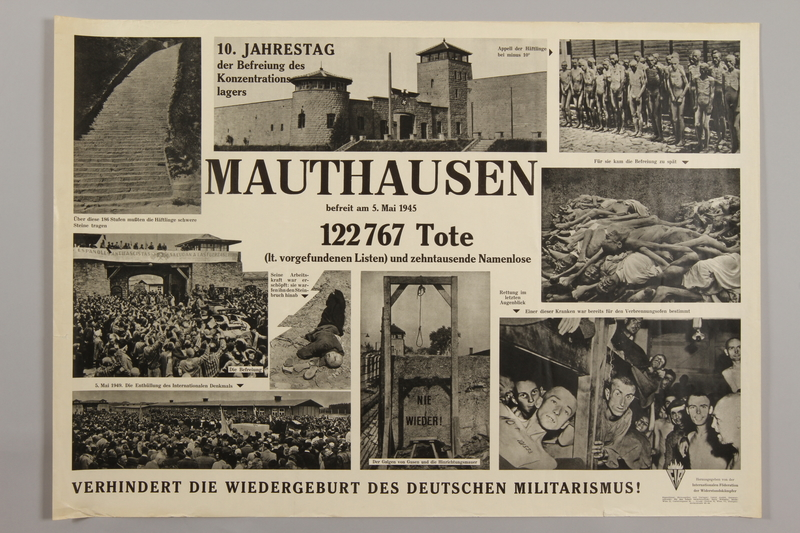 1990.305.7 front Poster for the 10th Anniversary of the Liberation of Mauthausen
