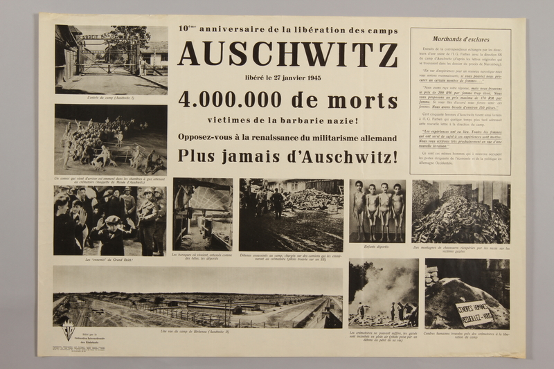 1990.305.8 front Poster for the 10th Anniversary of the Liberation of Auschwitz