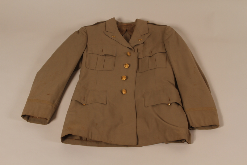2008.180.10 front US Army officer's summer weight tunic worn by the director of the Vaad Hatzala Emergency Committee in postwar Germany