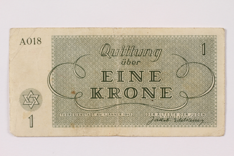 1990.331.1 back Theresienstadt ghetto-labor camp scrip, 1 krone note