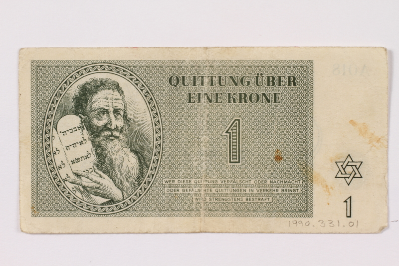 1990.331.1 front Theresienstadt ghetto-labor camp scrip, 1 krone note